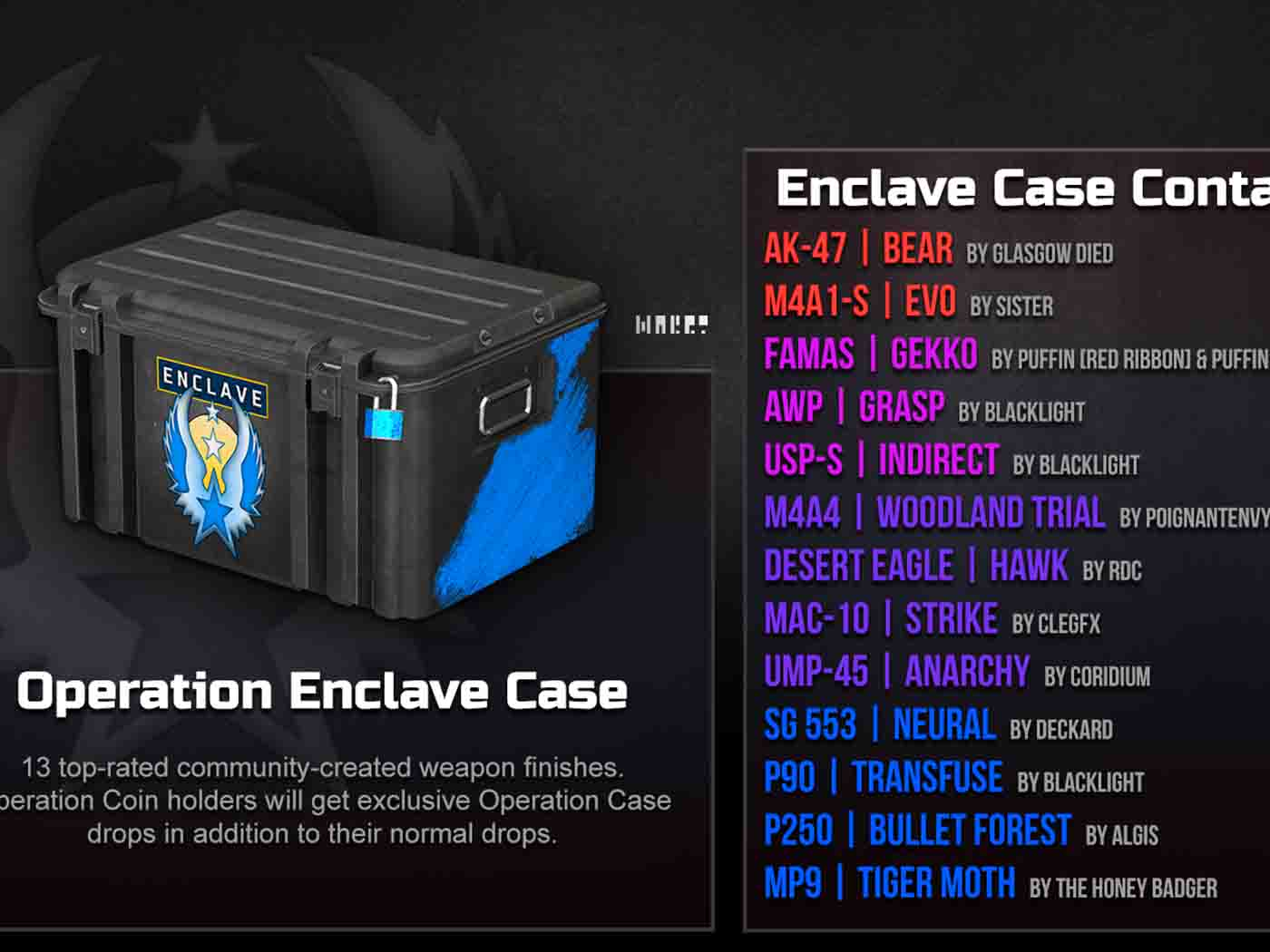 Новый кейс в CSGO - Enclave case contains
